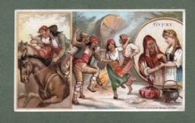 Gypsy Gipsy life RARE old coffee trade card 1890's  #156